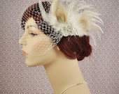 Birdcage Veil With Feather Fascinator - Bridal veil with rhinestone brooch - Made to Order