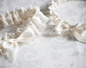 Ivory Garter - Ivory Garter Set with custom initials placed anywhere, Satin Bridal Garter- can be made in other colors - 110G