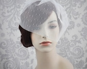 Birdcage Veil, White Blusher Veil, Ivory Wedge Veil, White Birdcage Veil, White, ivory, champagne, or black Point D' Esprit netting - 105BC