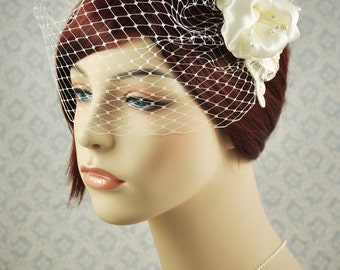 Birdcage Veil - ivory blusher veil with flower and lace, vintage style wedding veil - 130BC