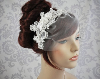 Veil, Lace birdcage Veil, Vintage Style Birdcage Veil, Detachable Option - ivory, white, silver, or champagne. - 113BC