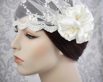 Bridal Cap - Veil Juliet Cap ivory lace with silk charmeuse flowers and vintage stamens - ivory or white - 101C