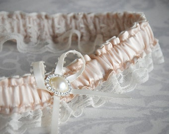 Blush Pink and Ivory Garter - Vintage Pink Silk Charmeuse Garter with pearl and rhinestone button - 113G