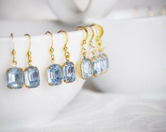 Something Blue Bridal Earrings, Sapphire Bridesmaid Gifts, Light Blue Bridesmaid Earrings, Blue Bridesmaid Jewelry,
