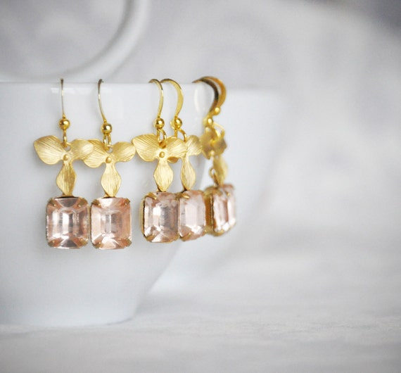 Rosaline Rhinestone and Gold Orchid Earrings, Light Pink Rhinestone Earrings, Bridesmaid Gifts, Bridesmaid Earrings, Bridal Set - 100ES