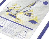 Sunfish Sailboat Screen Print Poster Printed on Used Sail Cloth 18x24