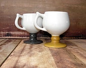 Pair of Pedestal Caribe Diner Mugs Yellow and Gray Grey Super Retro