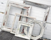 Large FRAME SET - Set of Five Antique White Shabby Chic Distressed Picture Frames