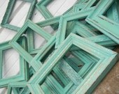 One 16x20 Rustic Vintage Frame in Shabby Chic Aqua Mint