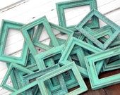 Three 5x7 Aqua Mint Table Number Wedding Frames Set of Three - 5 by 7 Jade Grey Emerald Wall Frames