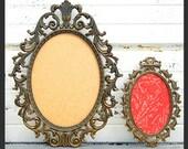 RESERVED FOR Melissa Hartley - Two Ornate Oval Metal FRAMES - Set of 2 Fancy Frames in Oval