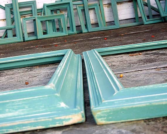 16x20 frames set of two 16 x 20 antique vintage aqua mint painted frames