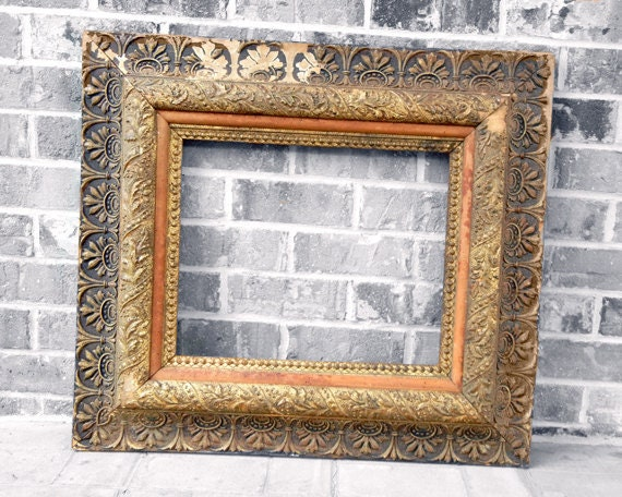 RESERVED FOR TARA - Antique Frame - Large thick Golden Ornate Frame Size 14 x 17
