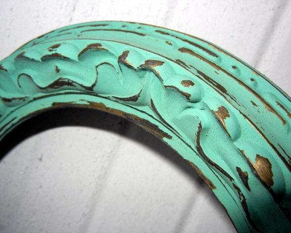 Antique Aqua Mint Ornate Oval FRAME - Vintage Ornate Aqua Mint Painted Round Frame