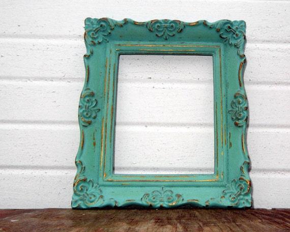 Antique Mint 4 x 5 FRAME - Sweet Little Vintage Ornate Aqua Mint 4x5 Frame
