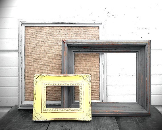 FRAME COLLECTION - Mix of Three Vintage Yellow, Dark Gray, and Light Gray Frames  Wall Collage