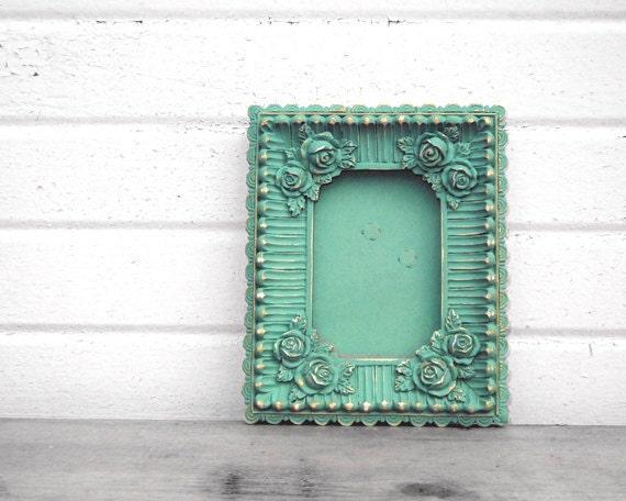 Antique Mint 2 x 3 FRAME - Sweet Little Vintage Rose Ornate Aqua Mint 2x3 Frame