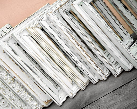 """One 8x10 FRAMES - 1 random mixed 8 x 10 frames painted and distressed in """"Antique White"""""""