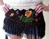 Bohemian Brown Suede Fringe Belt with Embroidery and Studs