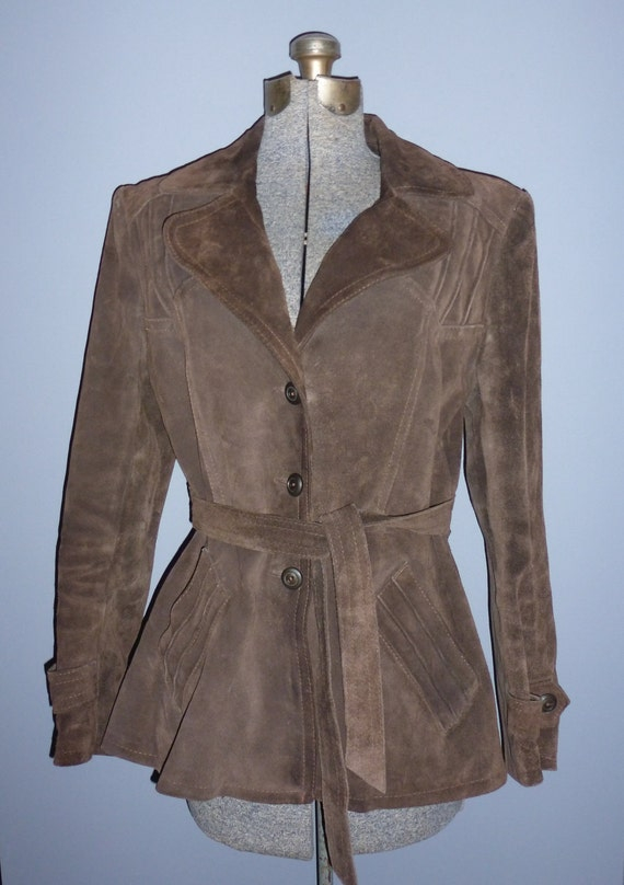 chocolate crown Bermans Original vintage suede jacket - vintage leather coat