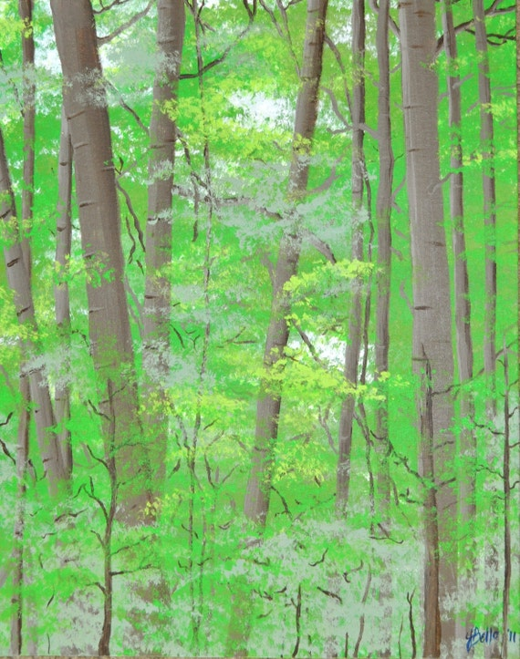 Green leaves Painting Forest