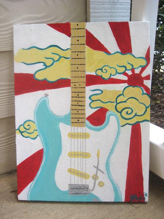 Fender Stratocaster Painting - Electric Guitar Teal Sun Burst Artwork