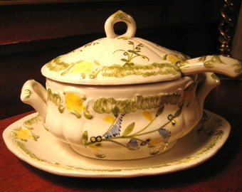 IRONSTONE Covered SAUCE TUREEN with Ladle Marked