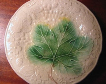Antique MAJOLICA Plate with Green GRAPE LEAFand Grape Motif
