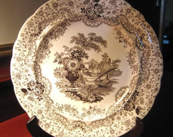 Antique BROWN TRANSFERWARE PLATE , Persian  by Wm. Ridgway 1830 to 1834