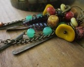 Colorful, Bold Boho Assemblage Earrings