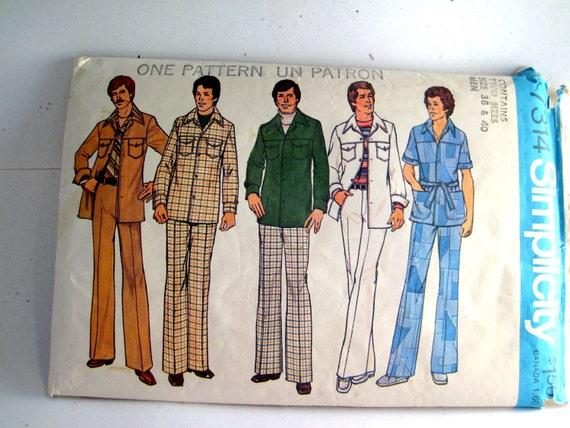 Simplicity 7314 Mens Leisure Suit Vintage Pattern Sizes 38 40