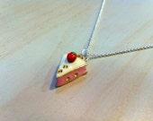 Strawberry short cake necklace