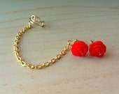 Red resin mini rose bud ear stud with gold ear cuff chain earring 10mm