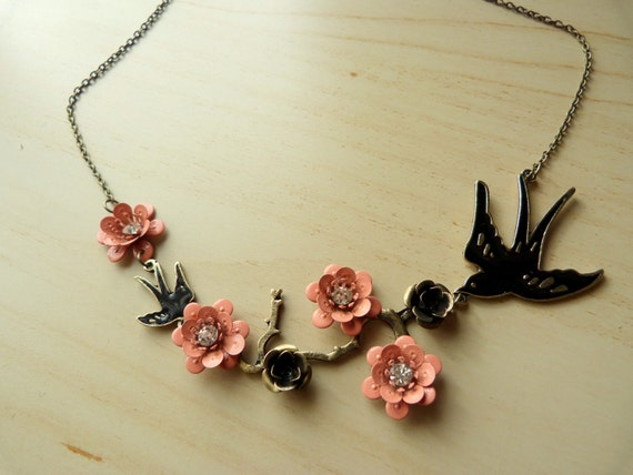 Cherry blossom branch and swallow bird antique style necklace