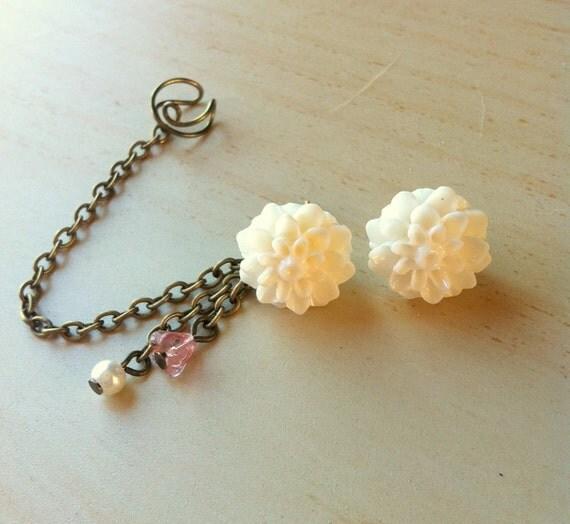 White resin flower ear stud ear cuff dangle earrings 2 in 1 earring two ways to be worn