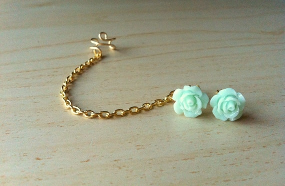 Seafoam mint green resin mini rose bud ear stud with gold ear cuff chain earring 10mm