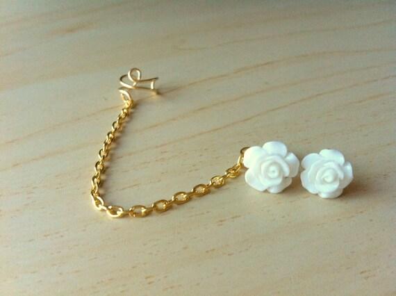 White resin mini rose bud ear stud with gold ear cuff chain earring 10mm