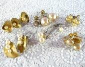 Vintage Jewelry Supplies, Art Craft Supplies, Jewelry Destash, Lot 11 Salvaged Earrings, Costume Pearls, Rhinestones, Gold Leaf Shell