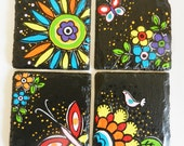 colorful spring and flower theme coasters in natural stone