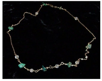 Moonstone and chrysoprase necklace