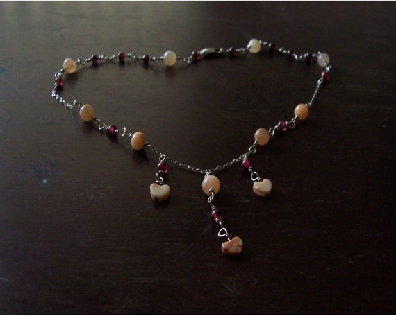 Garnet, Moonstone and Jasper Heart Necklace