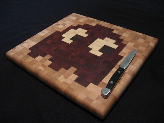 Pac-Man End-Grain Cutting Board - Blinky