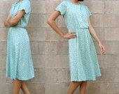 seafoam green dress/ vintage sundress/ 80s pattern dress S
