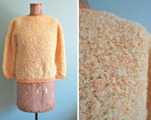 SALE 1950s sweater/ vintage boucle sweater/ yellow pullover S