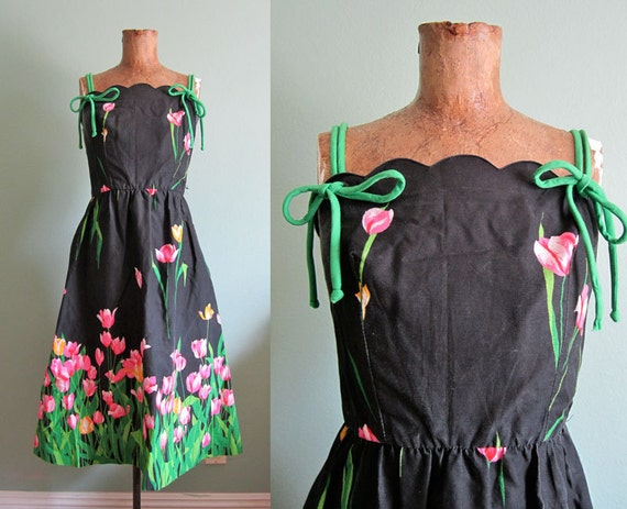 vintage sundress/ floral sundress/ 1970s floral sundress S