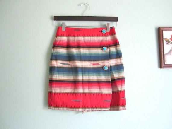 vintage southwestern skirt/ southwest mini skirt/ ethnic wrap skirt XS-S