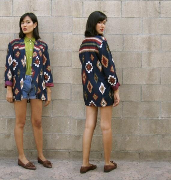 SALE southwest jacket/ Navajo print blazer/ lined jacket