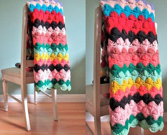 vintage multi color knit stripe blanket/ 1960s chevron afghan/ Missoni inspired throw