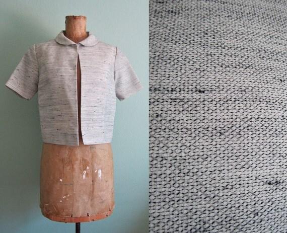 1960s jacket/ 60s bolero short jacket/ peter pan collar jacket S