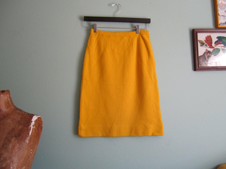 1960s skirt mustard yellow skirt 60s wool pencil skirt s